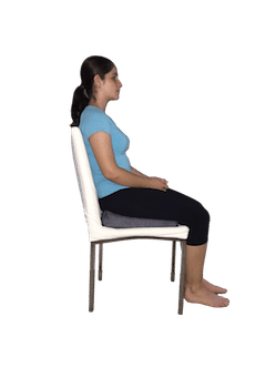 sitting on wedge for hip pain relief sitting