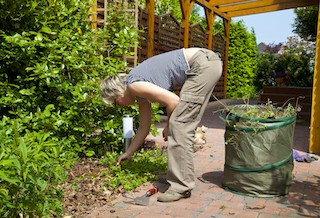 poor hip position to do gardening