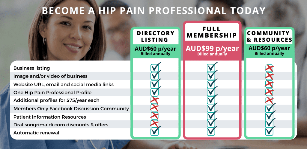 Membership Options to Become a Hip Pain Professional