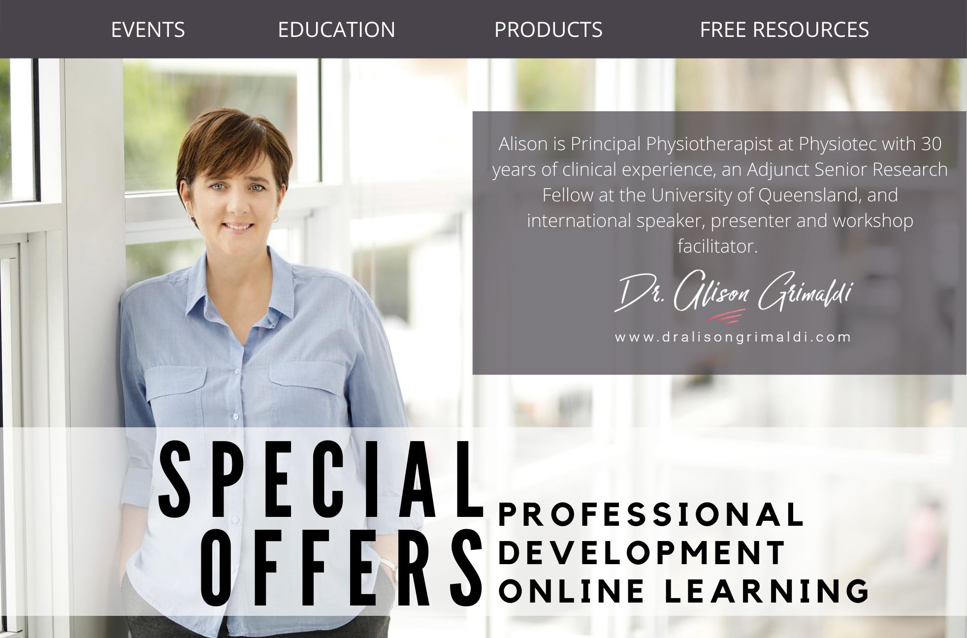 Receive discounts to online courses provided by Dr Alison Grimaldi